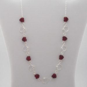 Sweetheart Silver and Red Heart Necklace
