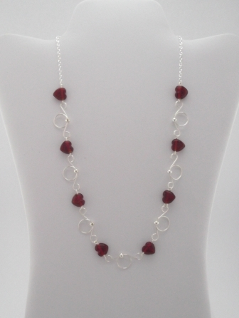 Sweetheart Silver and Red Heart Necklace by Teresa Rusk  - featured on Jewelry Making Journal