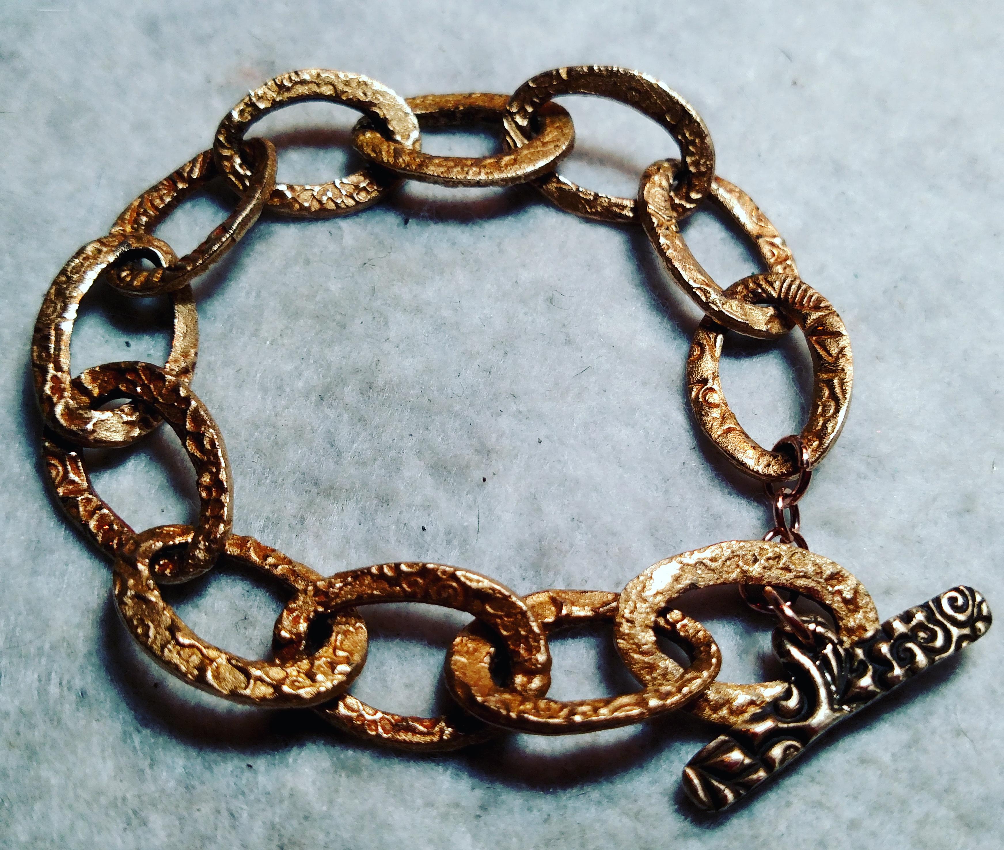 Bronze Clay Link Bracelet