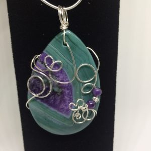 Wire Wrapped Agate Pendant Necklaces