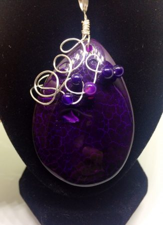 Wire Wrapped Purple Dragon Veins Agate Pendant by Christina Little  - featured on Jewelry Making Journal
