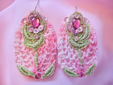 Pink and Green Lace Flower Jewellery