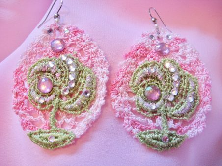 Pink and Green Lace Flower Jewellery by Tamara Robertson  - featured on Jewelry Making Journal