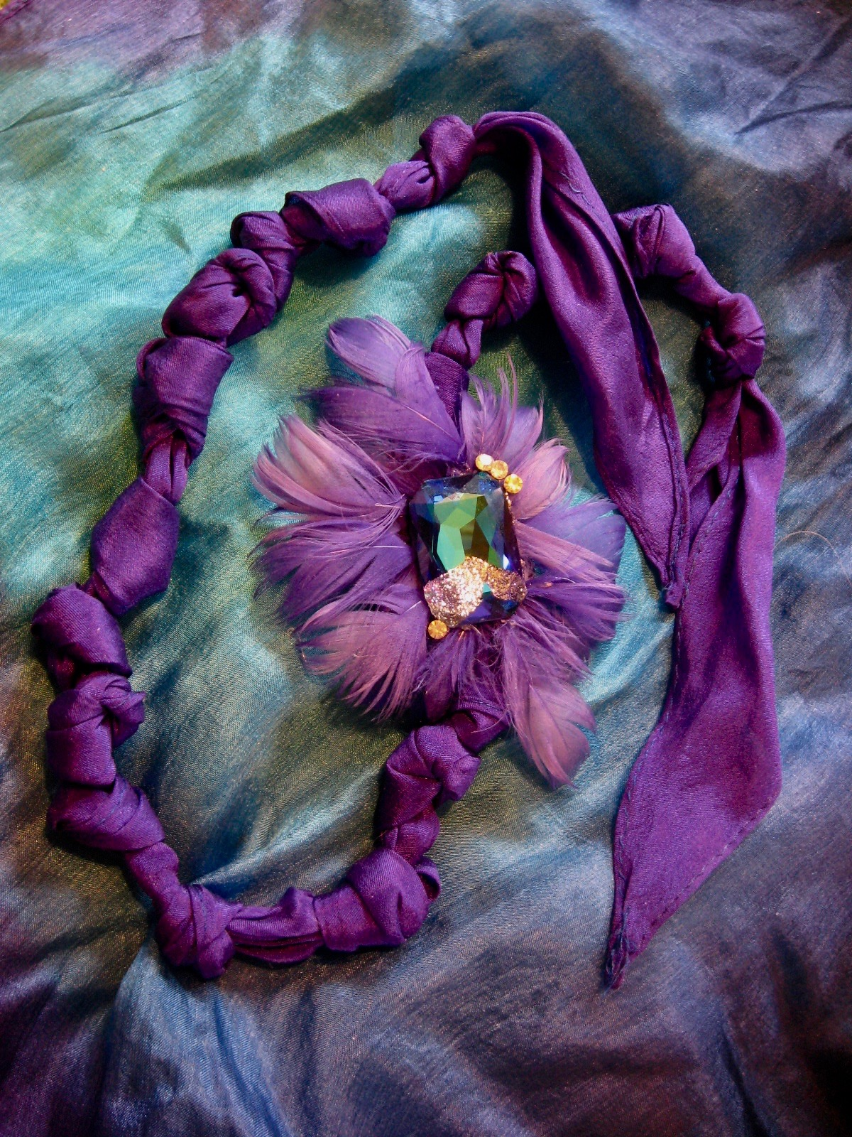 Purple Passion Silk and Feather Necklace / Headband Duo