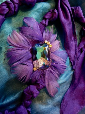 Purple Passion Silk and Feather Necklace / Headband Duo by Tamara Robertson  - featured on Jewelry Making Journal