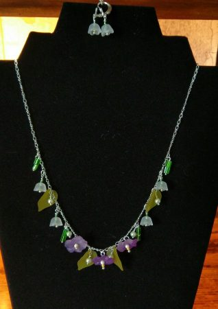 Pansy and Lily of the Valley Necklace and Earrings by Chris Rehkop  - featured on Jewelry Making Journal