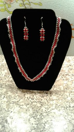 Red and Silver Necklace by Sena David  - featured on Jewelry Making Journal