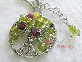 Peridot Garnet Tree of Life Pendant by Mei Tan  - featured on Jewelry Making Journal