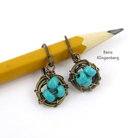 Easy Bird's Nest Wire Earrings - Tutorial by Rena Klingenberg