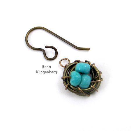 Easy Bird's Nest Wire Earrings - Tutorial by Rena Klingenberg - attaching earwires to nests