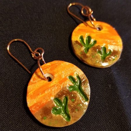 Sunset in Arizona - Clay Earrings by Kim Hermann  - featured on Jewelry Making Journal