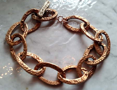 Bronze Clay Link Bracelet by Martha Anderson  - featured on Jewelry Making Journal