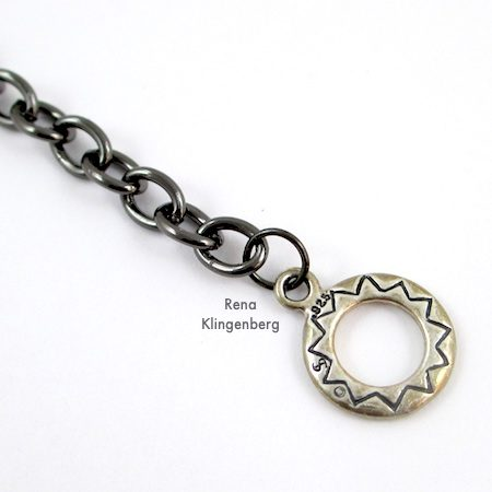 Toggle Pendant Necklace - Tutorial by Rena Klingenberg - attaching toggle clasp ends to chain
