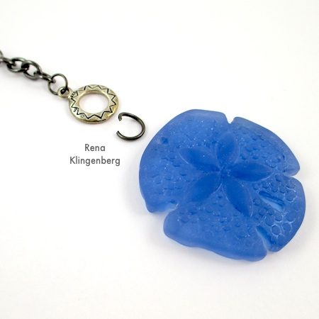 Toggle Pendant Necklace - Tutorial by Rena Klingenberg - attaching pendant to toggle clasp