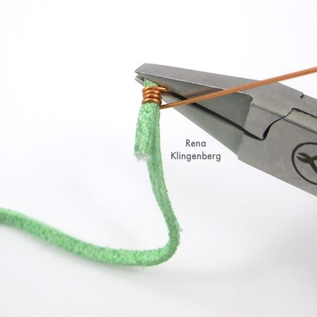 Wrap Ankle Bracelet with Briolettes Tutorial by Rena Klingenberg - wire wrapping the cord end