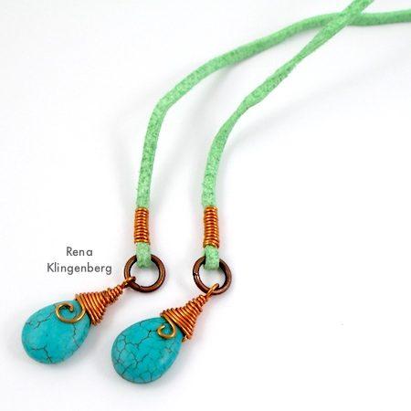 Wrap Ankle Bracelet with Briolettes Tutorial by Rena Klingenberg - with swingy briolette ends