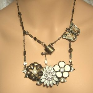 Brass Butterfly Garden Necklace
