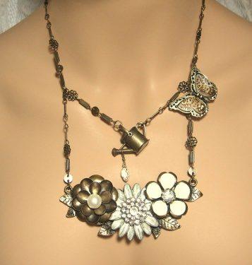 Brass Butterfly Garden Necklace