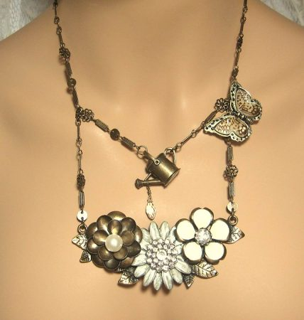 Brass Butterfly Garden Necklace by Linda Tenney  - featured on Jewelry Making Journal