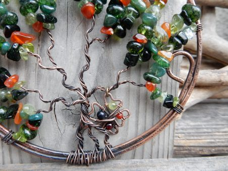 Wire Shamrocks in a Tree of Life Suncatcher by Erinn LaMattery  - featured on Jewelry Making Journal