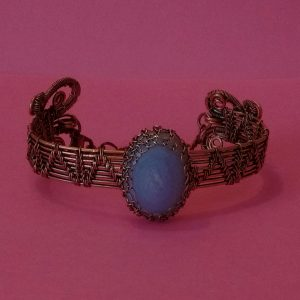 Blue Lace Agate Bracelet with Scrolls