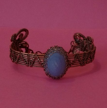 Blue Lace Agate Bracelet with Scrolls by Kristene Gonzales