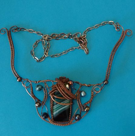 """""""The Forrest"""" Onyx Agate and Copper Necklace by Kristene Gonzales  - featured on Jewelry Making Journal"""