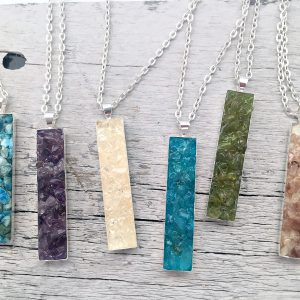 Crushed Gemstone Vertical Bar Necklace