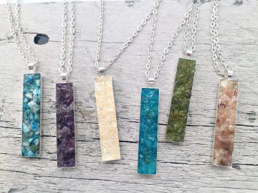 Crushed Gemstone Vertical Bar Necklace
