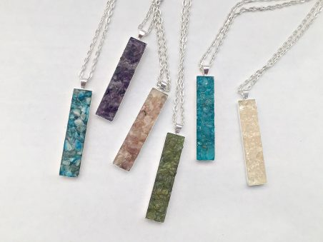 Crushed Gemstone Vertical Bar Necklace by Kelly Tibbetts - featured on Jewelry Making Journal