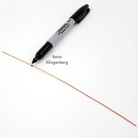 Wire Helix Earrings Tutorial by Rena Klingenberg - marking the wire