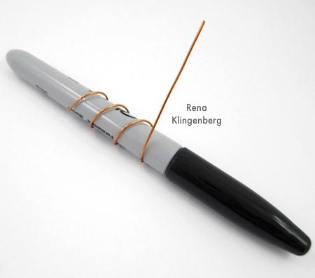 Wire Helix Earrings Tutorial by Rena Klingenberg - making the wire helix