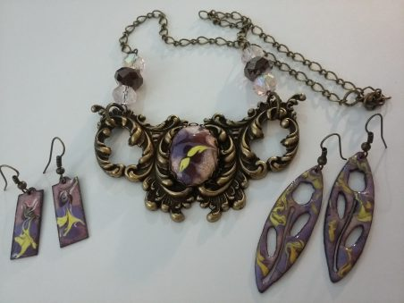 Gothic Baroque Bib Necklace and Earrings by Geraldine Farkas  - featured on Jewelry Making Journal