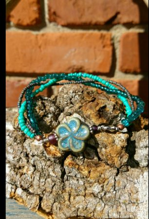 Flower and Seed Bead Braided Bracelet by Danica Lively  - featured on Jewelry Making Journal