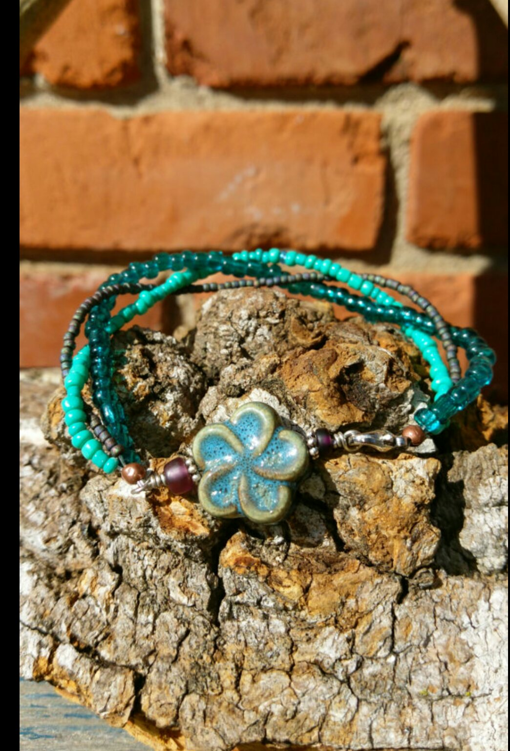 Flower and Seed Bead Braided Bracelet
