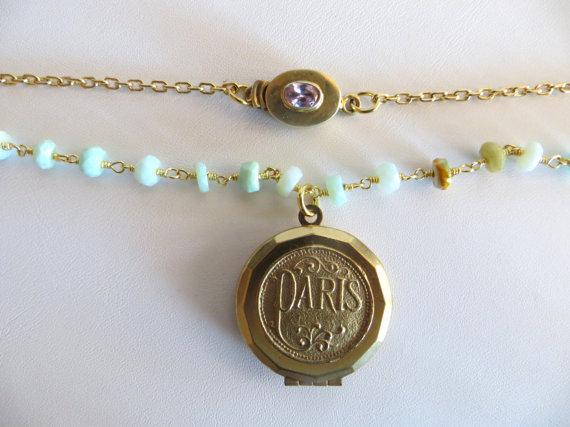 Peruvian Opal Necklace With Vintage Paris Locket