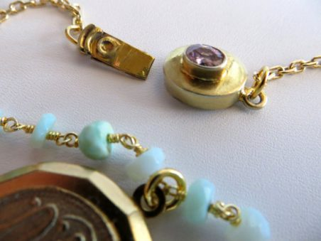Peruvian Opal Necklace With Vintage Paris Locket by Holly Louen  - featured on Jewelry Making Journal