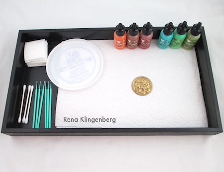 Jewelry Patina Techniques Tutorial by Rena Klingenberg - work station to contain the mess
