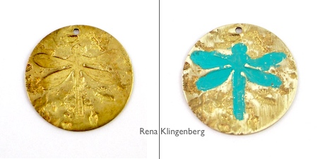 Jewelry Patina Techniques Tutorial by Rena Klingenberg - An Isolated Area of Patina