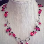 Beaded Necklace with Wire Wrapped Dangles