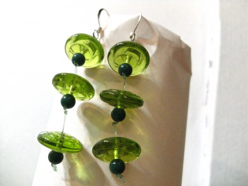 Green(ery) Long Dangle Earrings by Lyone Fein  - featured on Jewelry Making Journal