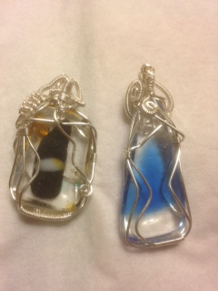 Back of fused glass wire pendants by Stuart Turner  - featured on Jewelry Making Journal