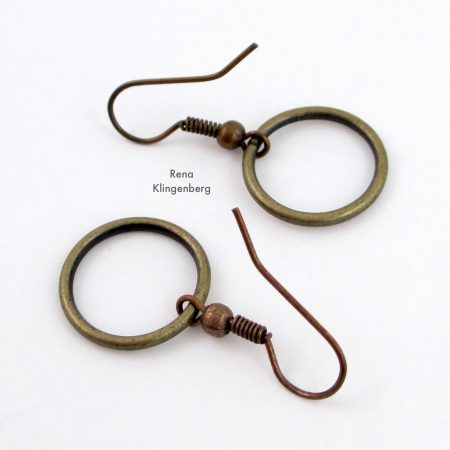 Quick & Easy Hoop Earrings Tutorial by Rena Klingenberg - heavy gauge antiqued metal