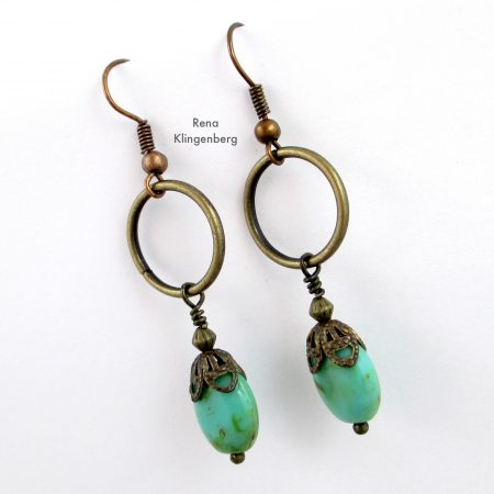 Quick & Easy Hoop Earrings Tutorial by Rena Klingenberg - with Victorian style dangles