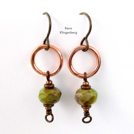 Quick & Easy Hoop Earrings Tutorial by Rena Klingenberg - with bead dangles
