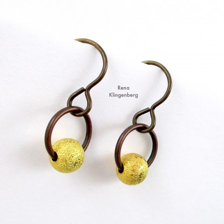 Quick & Easy Hoop Earrings Tutorial by Rena Klingenberg - three different metals