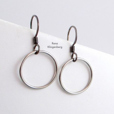 Quick & Easy Hoop Earrings Tutorial by Rena Klingenberg - lovely slver hoops