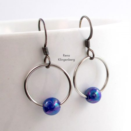 Quick & Easy Hoop Earrings Tutorial by Rena Klingenberg - add a simple bead to the hoop
