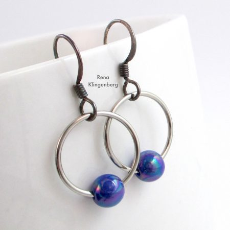 Finished Quick & Easy Hoop Earrings Tutorial by Rena Klingenberg