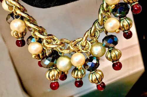 Majorcan  pearls  and garnets galore by Allison Mass  - featured on Jewelry Making Journal